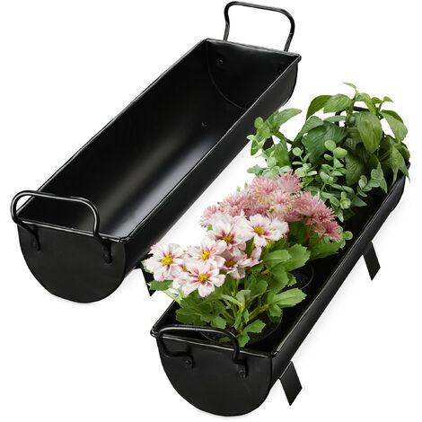 Balconnière gouttière pot de fleurs métal jardinière zinc jardin bac à fleurs déco set de 2, argenté