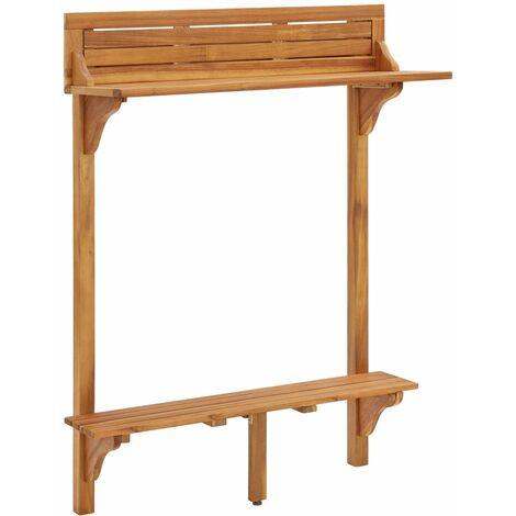 Balcony Bar Table 90x37x122.5 cm Solid Acacia Wood