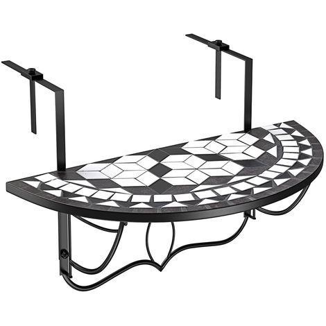 Balcony Hanging Mosaic Stone Table Terracotta Foldable Patio Railing 76x40cm Black White