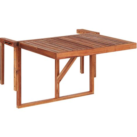 "main image of ""Balcony Hanging Rail Table Solid Dark Acacia Wood Folding 60 x 55 cm Udine"""