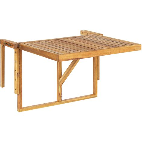 "main image of ""Balcony Hanging Rail Table Solid Light Acacia Wood Folding 60 x 55 cm Udine"""