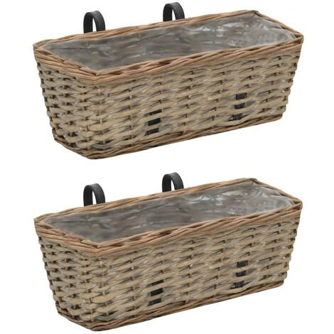 Balcony Planter 2 pcs Wicker with PE Lining 40 cm