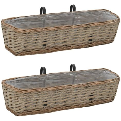Balcony Planter 2 pcs Wicker with PE Lining 60 cm - Brown