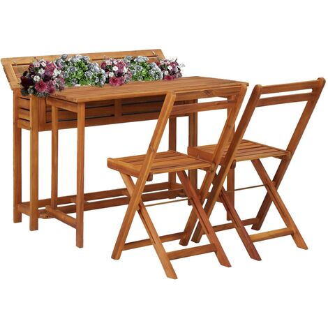 Balcony Planter Table with 2 Bistro Chairs Solid Acacia Wood - Brown