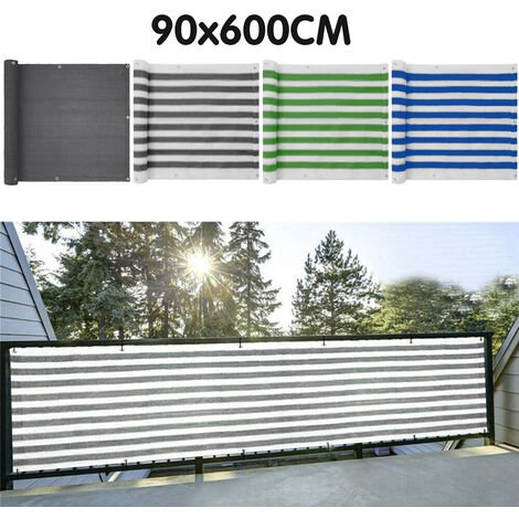 Balcony Privacy Screen Cover Fence For UV Protection Apartment Outdoor Windscreen Covering Mesh Cloth white+blue 90X600CM