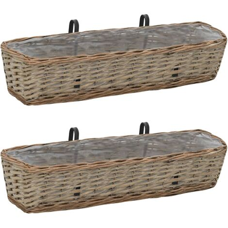 Balcony Raised Bed 2 pcs 80x20x15 cm Wicker with PE Lining