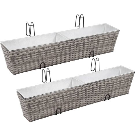 Balcony Raised Beds 2 pcs 80 cm Grey Poly Rattan