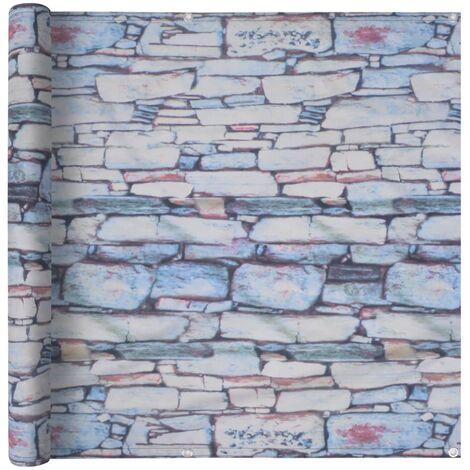 Balcony Screen Oxford Fabric 75x400 cm Stone Wall Print