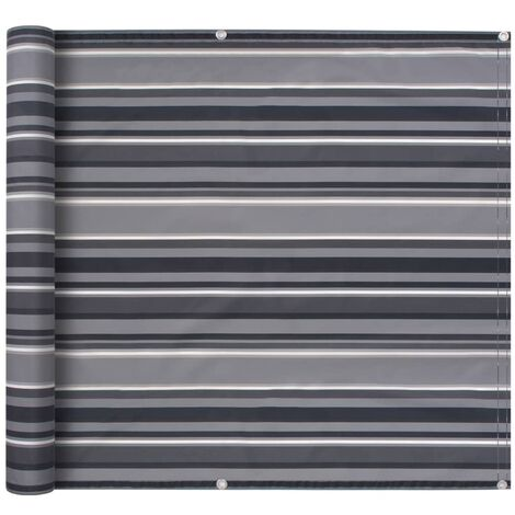 Balcony Screen Oxford Fabric 75x400 cm Stripe Grey