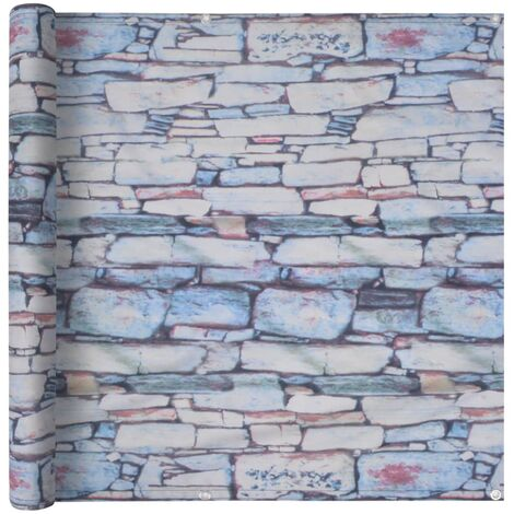 Balcony Screen Oxford Fabric 75x600 cm Stone Wall Print