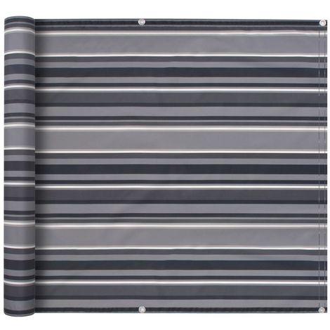 Balcony Screen Oxford Fabric 75x600 cm Stripe Grey