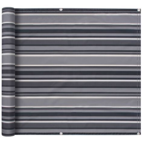 Balcony Screen Oxford Fabric 75x600 cm Stripe Grey - Multicolour