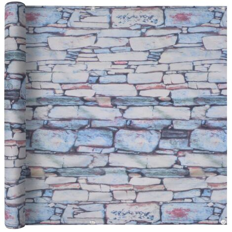 Balcony Screen Oxford Fabric 90x600 cm Stone Wall Print