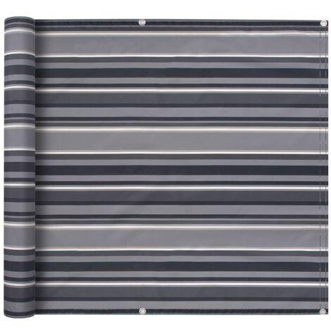Balcony Screen Oxford Fabric 90x600 cm Stripe Grey