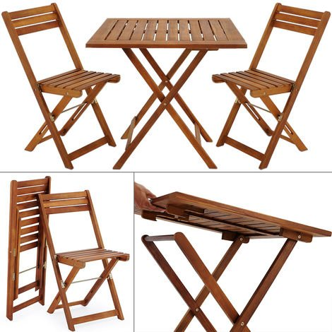 Balcony Set 3 Pieces Acacia Wood Brown