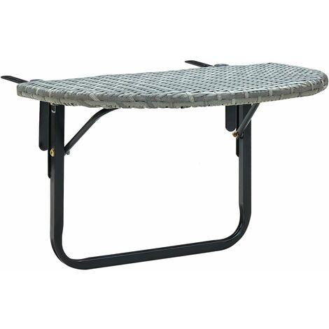 Balcony Table Grey 60x60x50 cm Poly Rattan