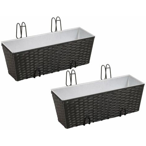 Balcony Trapezoid Rattan Planter Set 50 cm 2 pcs Black