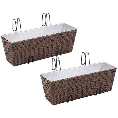 Balcony Trapezoid Rattan Planter Set 50 cm 2 pcs Brown