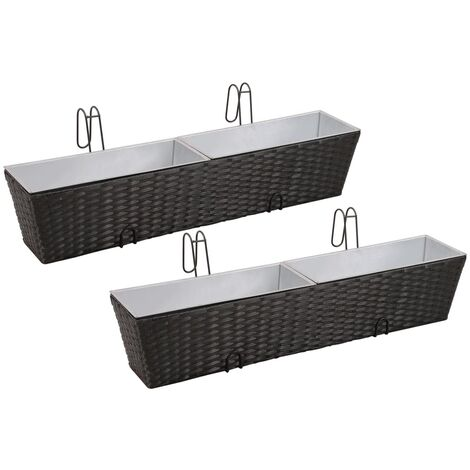 Balcony Trapezoid Rattan Planter Set 80 cm 2 pcs Black