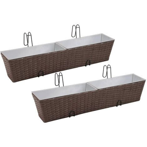 Balcony Trapezoid Rattan Planter Set 80 cm 2 pcs Brown