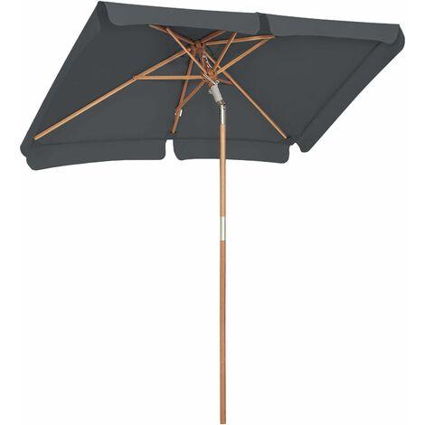 Balcony Umbrella, 2 x 1.25 m Rectangular Garden Parasol, UPF 50+ Protection, Wooden Pole and Ribs, Tilt Mechanism, Base Not Included, for Outdoor Garden Terrace, Taupe/Grey