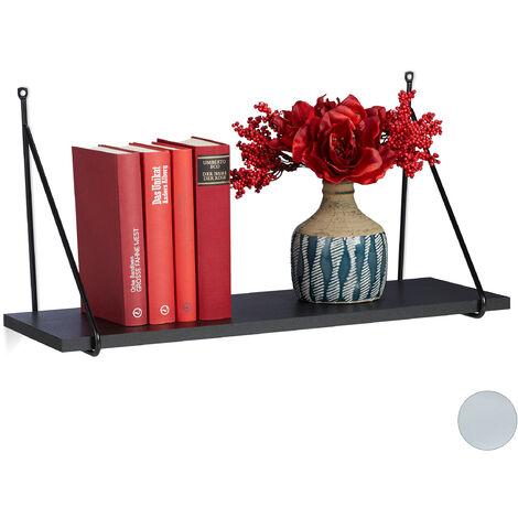 Balda flotante, Para el salón & pasillo, Diseño moderno, Librería, Decorativa, 30 x 60 x 22 cm, 1 Ud., Negro