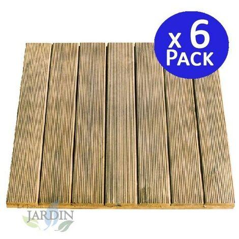 Baldosa de madera recta 50x50 cm y 32mm. 6 unidades