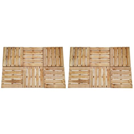 Baldosa de porche 12 unidades 50x50 cm madera marrón