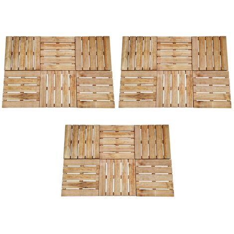 Baldosa de porche 18 unidades madera marrón 50x50 cm