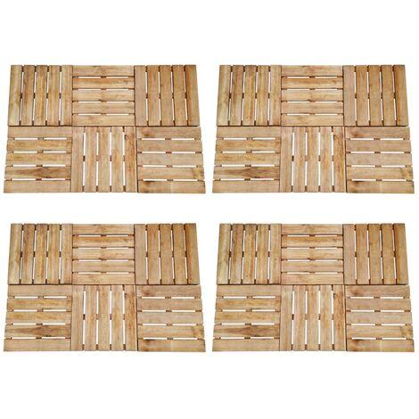Baldosa de porche 24 unidades 50x50 cm madera marrón