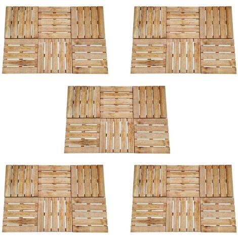Baldosa de porche 30 unidades madera marrón 50x50 cm