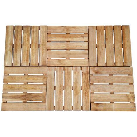 Baldosa de porche 6 unidades madera marrón 50x50 cm
