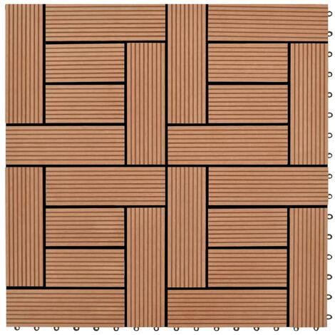 Baldosa de porche WPC marrón 11 unidades 30x30 cm