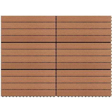 Baldosas 6 unidades WPC marrón 1m² 60x30 cm