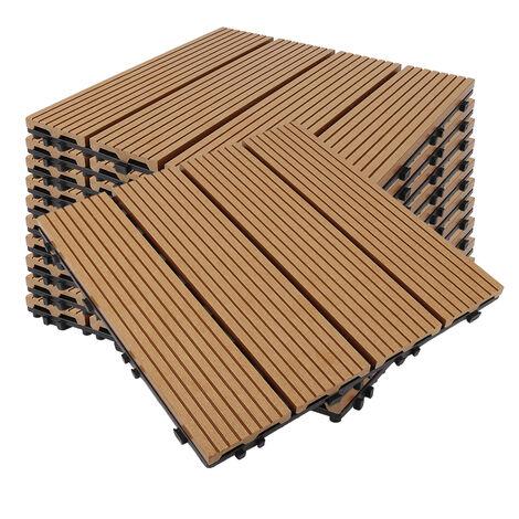 Baldosas con sistema de fijación por clips de madera compuesta WPC Marron(11 unidades /1 m² )