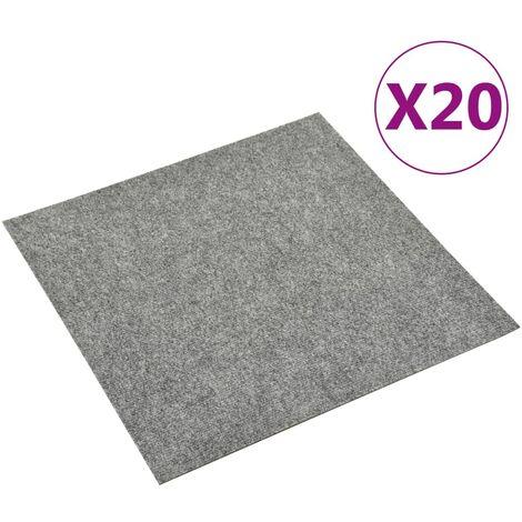 Baldosas de moqueta de suelo 20 unidades 5 m² gris claro - Gris