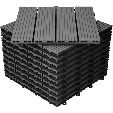 Baldosas de patio WPC azulejos 30x30cm aspecto de madera suelo antracita 1 m²