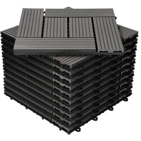 Baldosas de patio WPC azulejos 30x30cm aspecto de madera suelo antracita 1m²