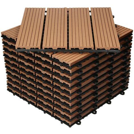 Baldosas de patio WPC azulejos 30x30cm aspecto de madera suelo click marrón 1 m²