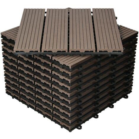 Baldosas de patio WPC azulejos 30x30cm aspecto de madera suelo marrón oscuro 1m²