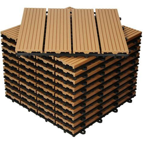 Baldosas de patio WPC azulejos 30x30cm aspecto de madera suelo teca 1 m²