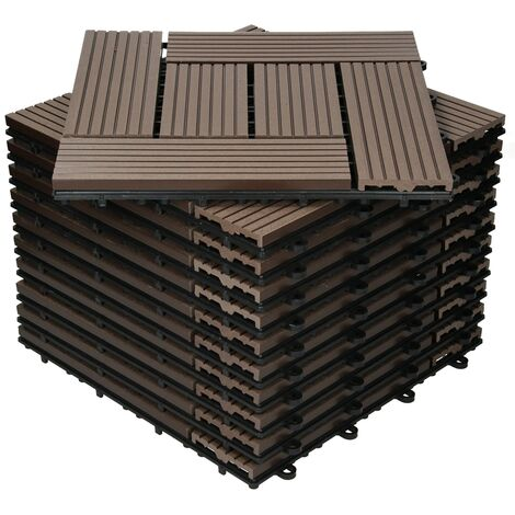Baldosas de patio WPC azulejos 30x30cm aspecto madera mosaico marrón oscuro 1m²