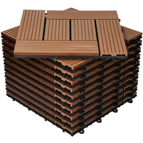 Baldosas de patio WPC azulejos 30x30cm mosaico de madera suelo marrón claro 1m²