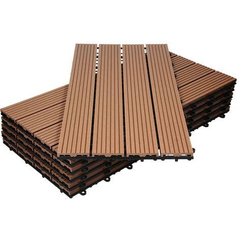 Baldosas de patio WPC azulejos 60x30cm aspecto de madera suelo marrón claro 1m²