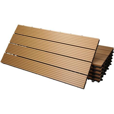 Baldosas de patio WPC azulejos 60x30cm aspecto de madera suelo teca 1m²