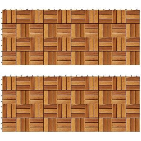 Baldosas de porche acacia 20 piezas 30x30 cm - Marrón