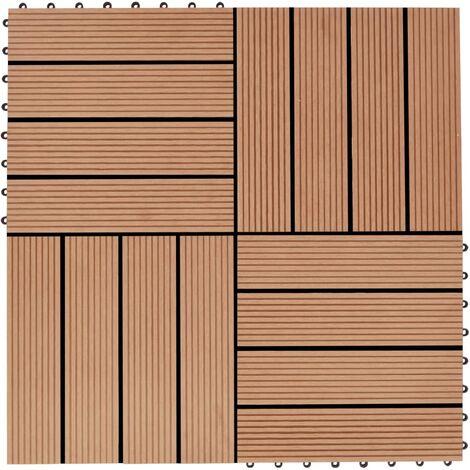 Baldosas de porche de WPC 30x30 cm 1 m² color teca 11 unidades