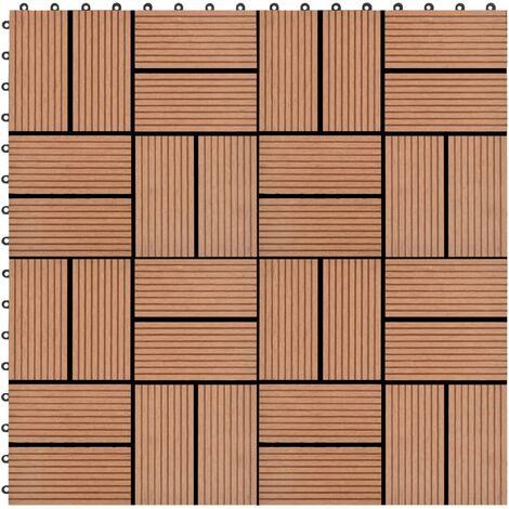 Baldosas de porche de WPC 30x30 cm 1 m² marrón 11 unidades