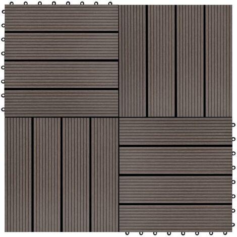 Baldosas de porche de WPC 30x30 cm 1 m² marrón oscuro 11 uds