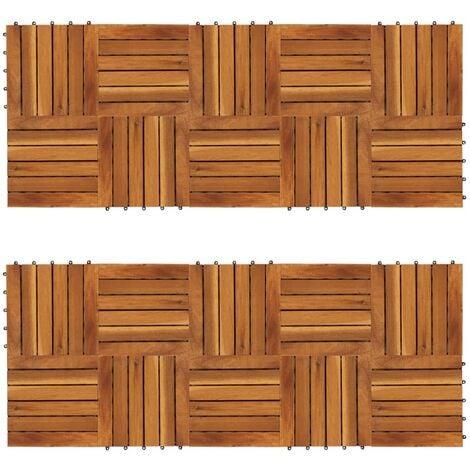 Baldosas de porche patrón vertical 20 piezas acacia 30x30 cm - Marrón